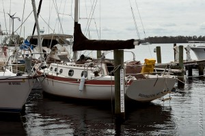 The boat, after removing the old name from the transom.